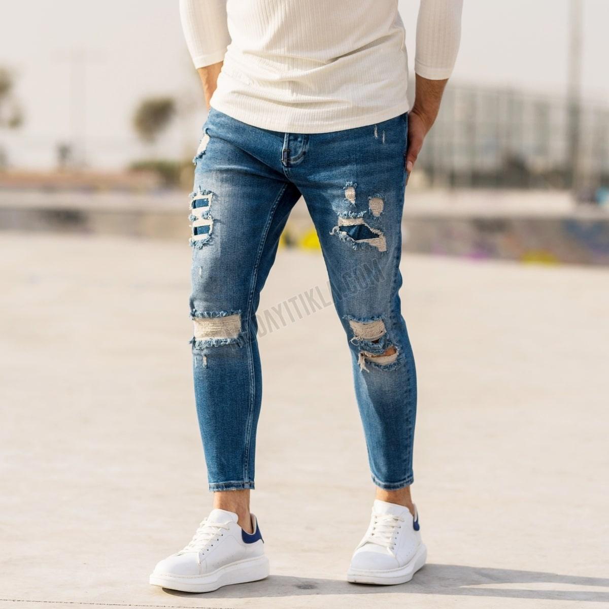 Erkek Dizi Yırtık İşlemeli Mavi Kot Pantolon