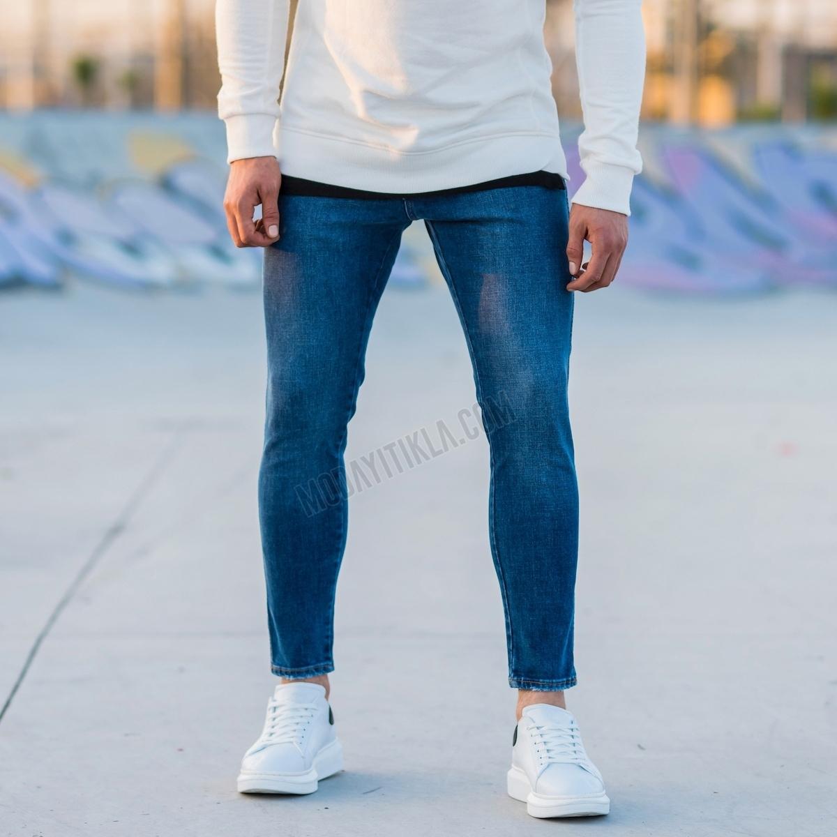 Erkek Koyu Mavi Basic Kot Pantolon