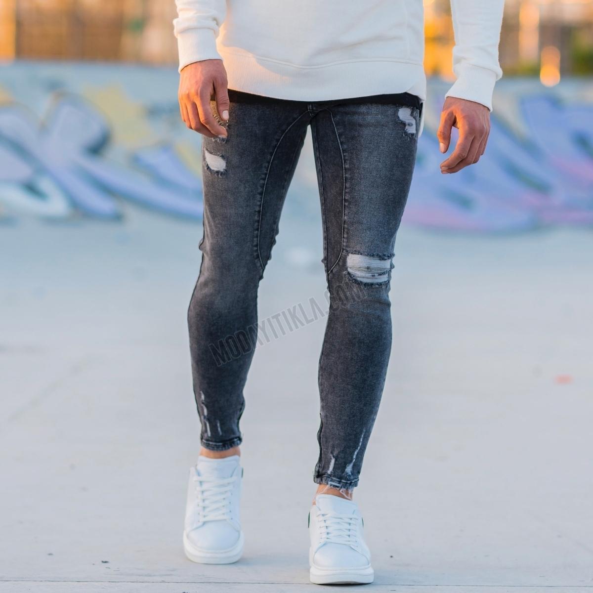 Erkek Paçası Yırtıklı Taşlamalı Gri Kot Pantolon