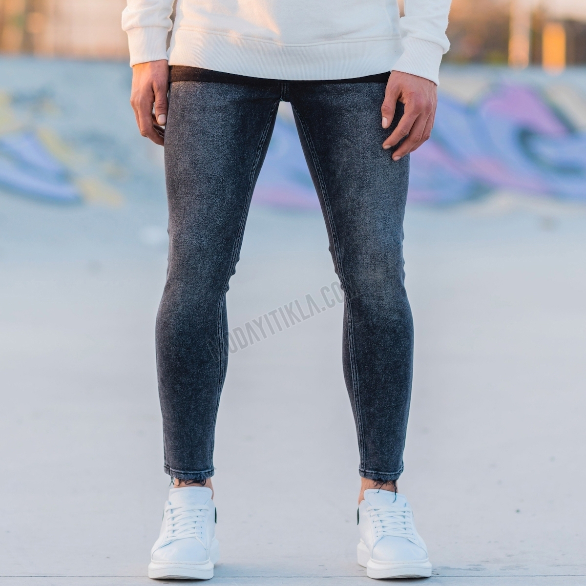 Erkek Basic Taşlamalı Füme Kot Pantolon