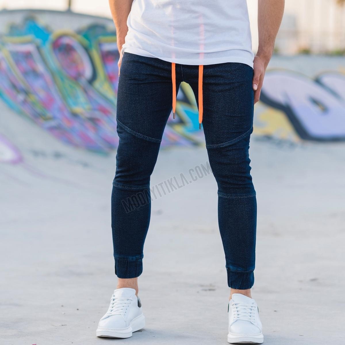 Erkek Lastik Paça Lacivert Kot Pantolon