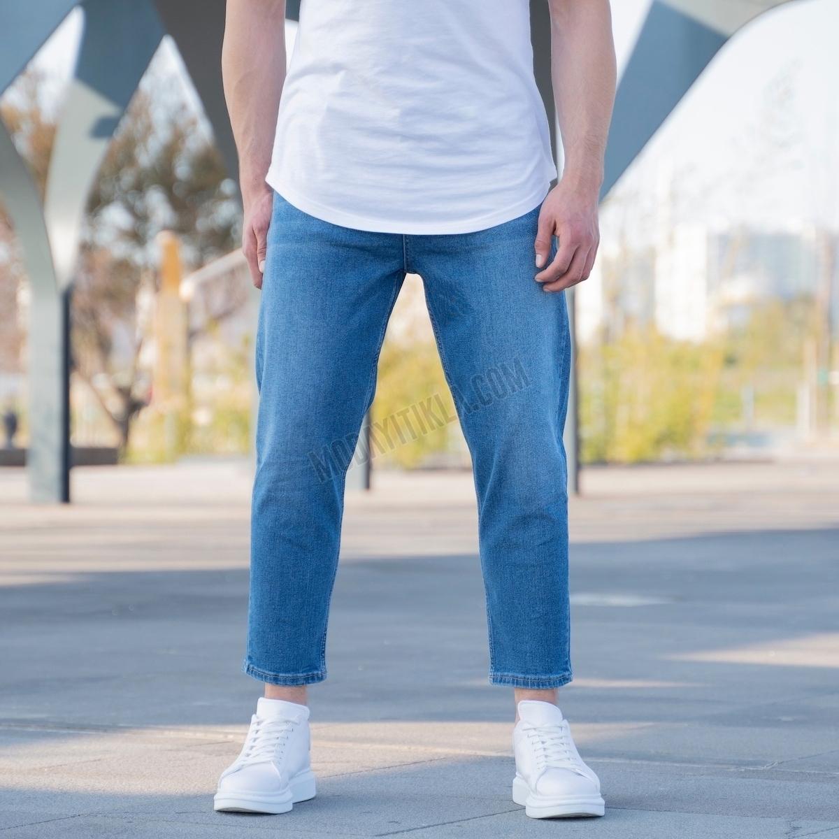 Erkek Koyu Mavi Kısa Paça Kot Pantolon