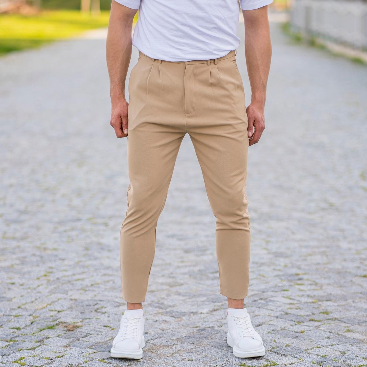 Erkek Dar Paça Fit Zincirli Krem Kumaş Pantolon