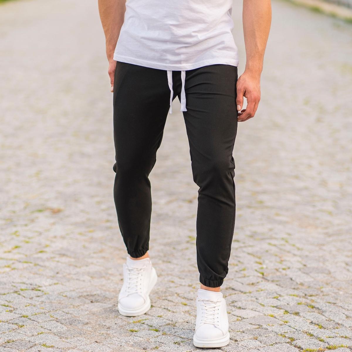 Erkek Lastikli Paça Kumaş Pantolon Siyah