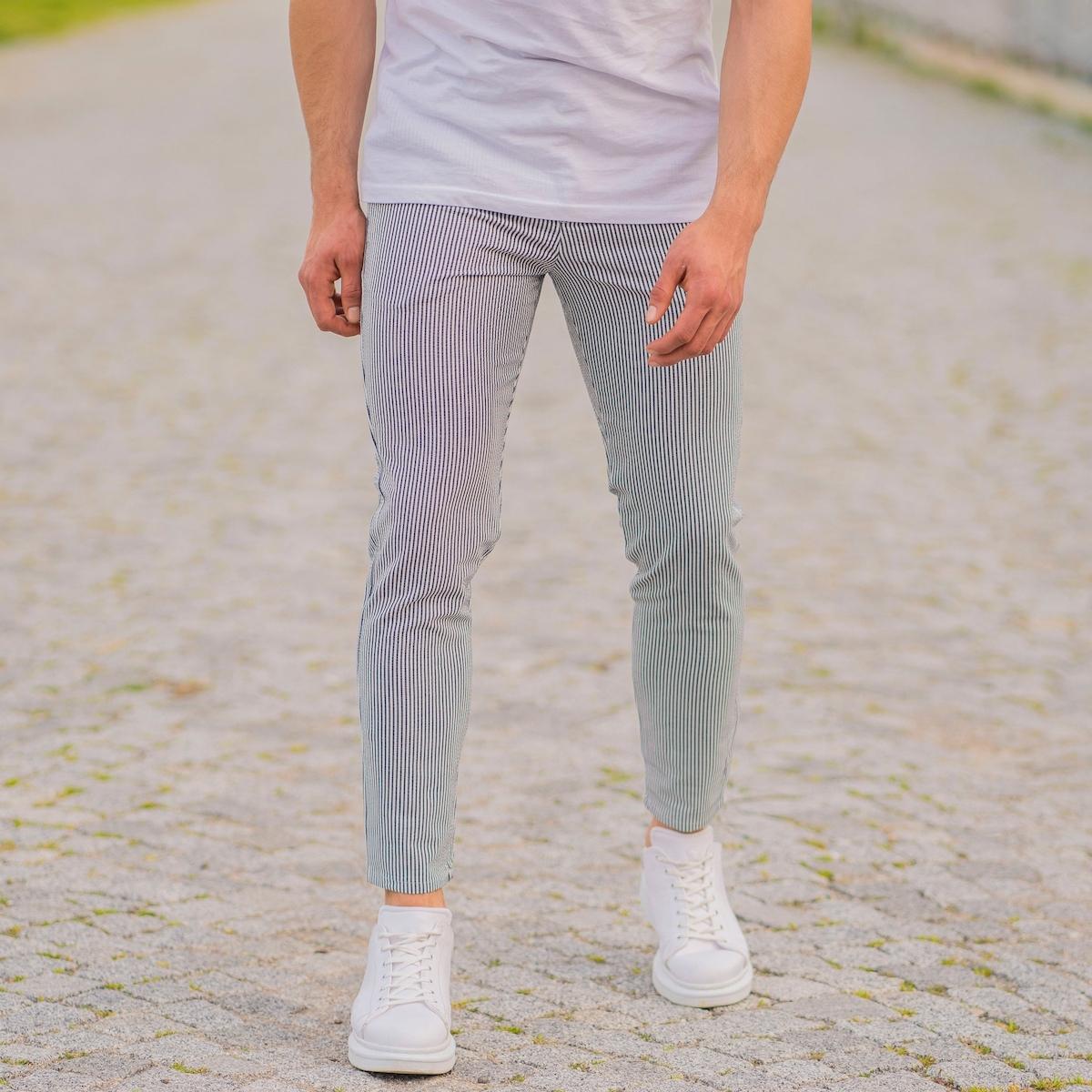 Erkek Dar Paça Fit Çizgili Beyaz Kumaş Pantolon