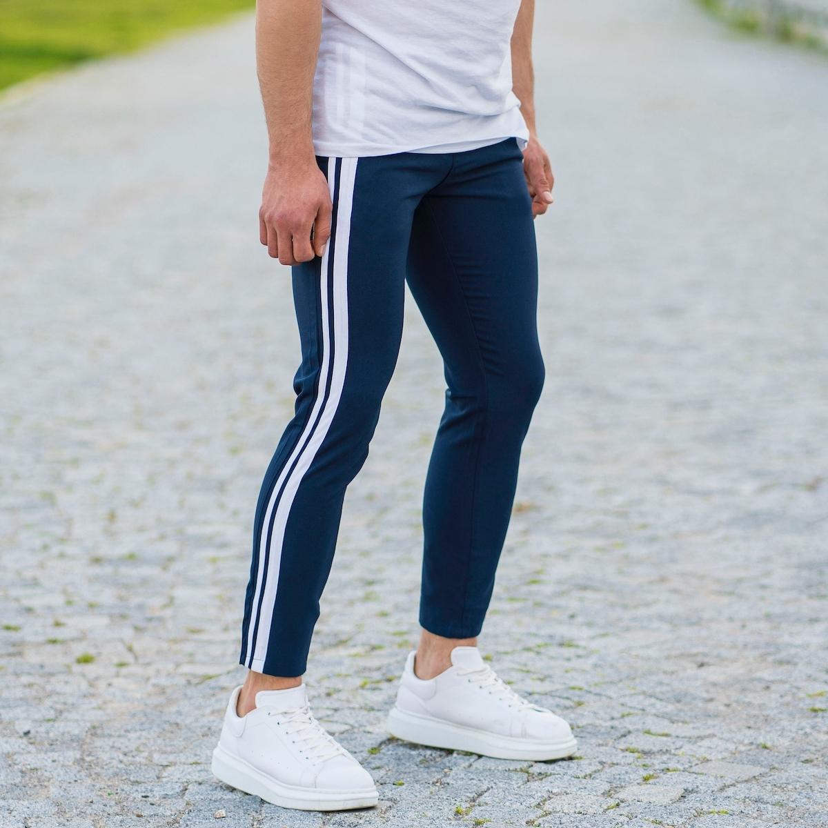 Erkek Dar Paça Fit Yanı Çift Şeritli Lacivert Kumaş Pantolon