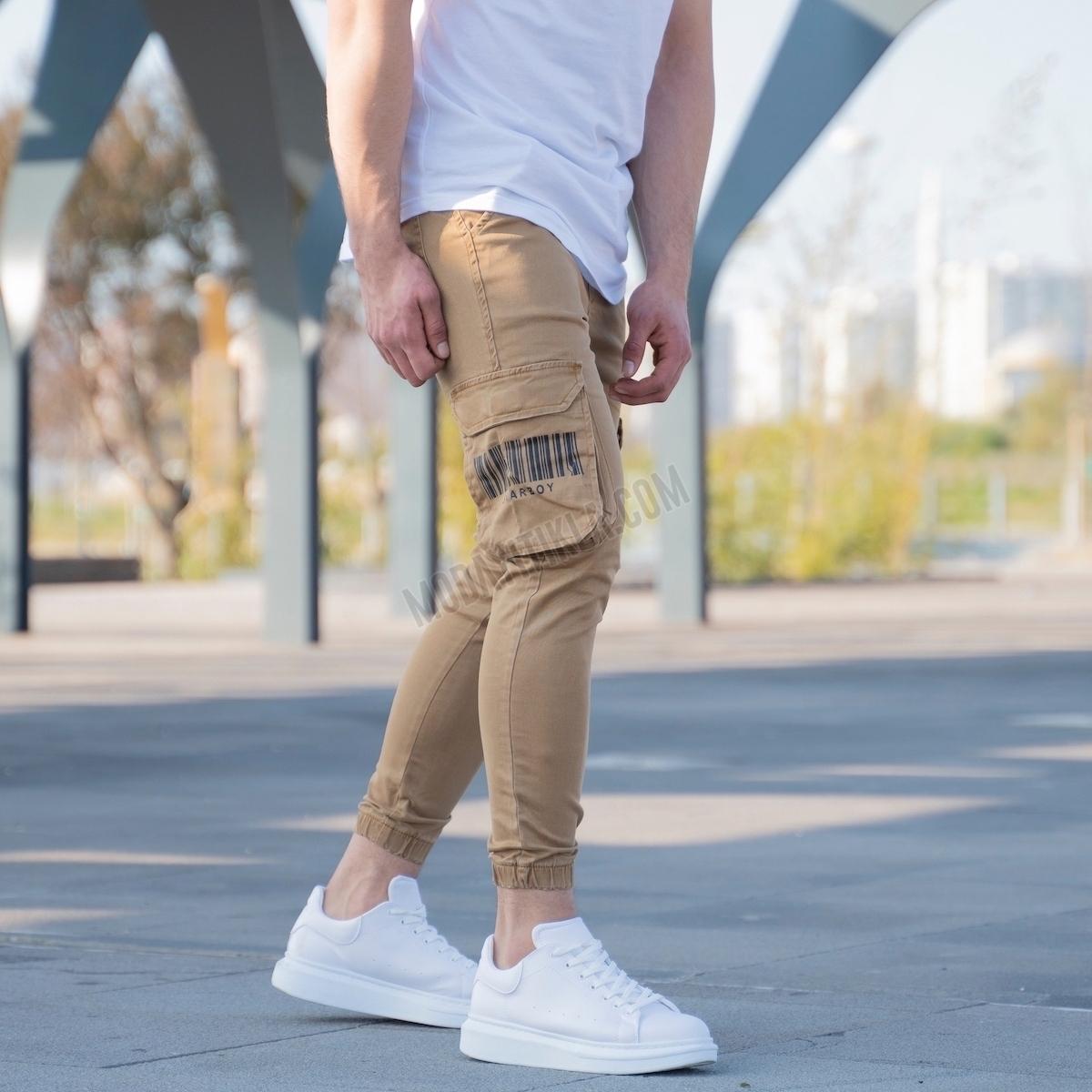Erkek Taba Yan Cepli Kargo Kot Pantolon