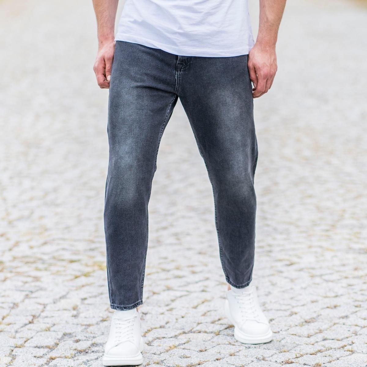 Erkek Taşlamalı Dar Paça Füme Kot Pantolon