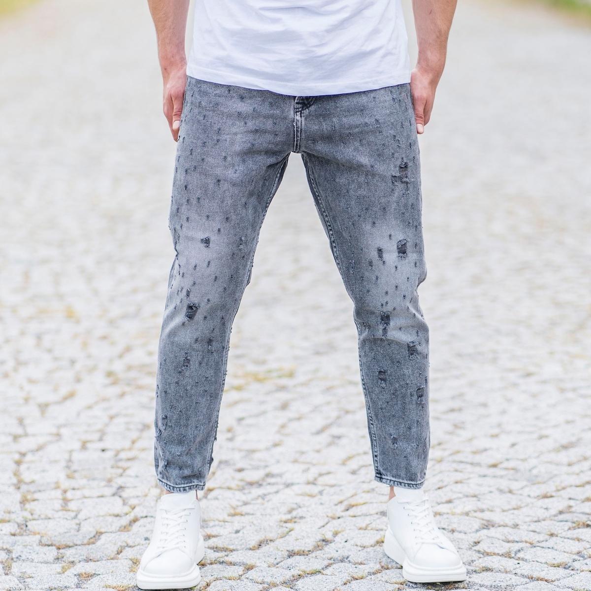 Erkek Eskitme Detaylı Yırtıklı Gri Kot Pantolon