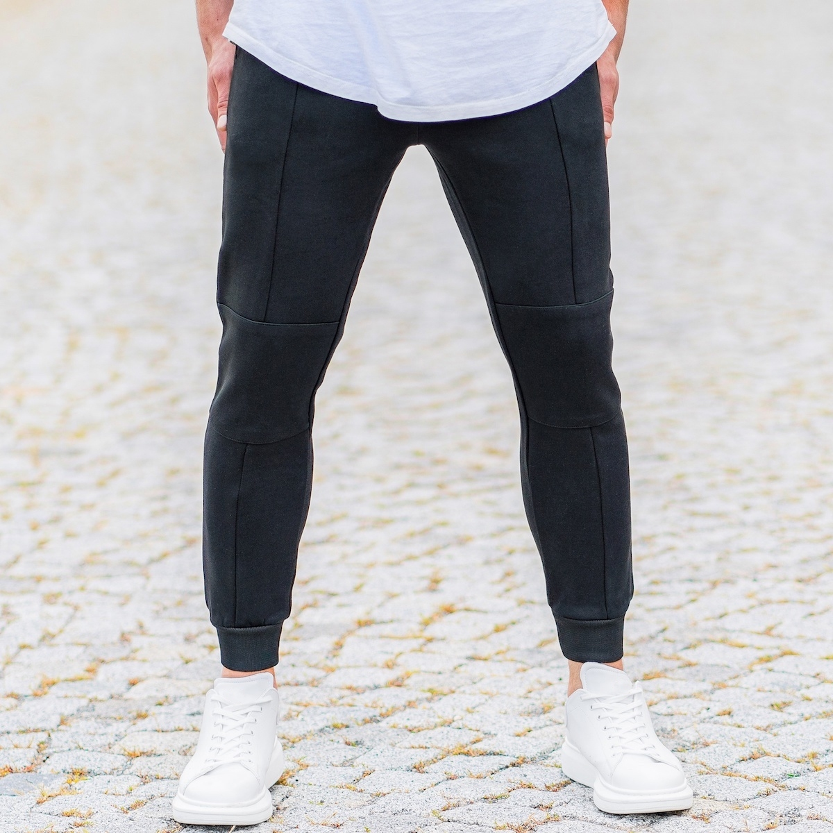 Erkek Dikiş Detaylı Siyah Pant Eşofman