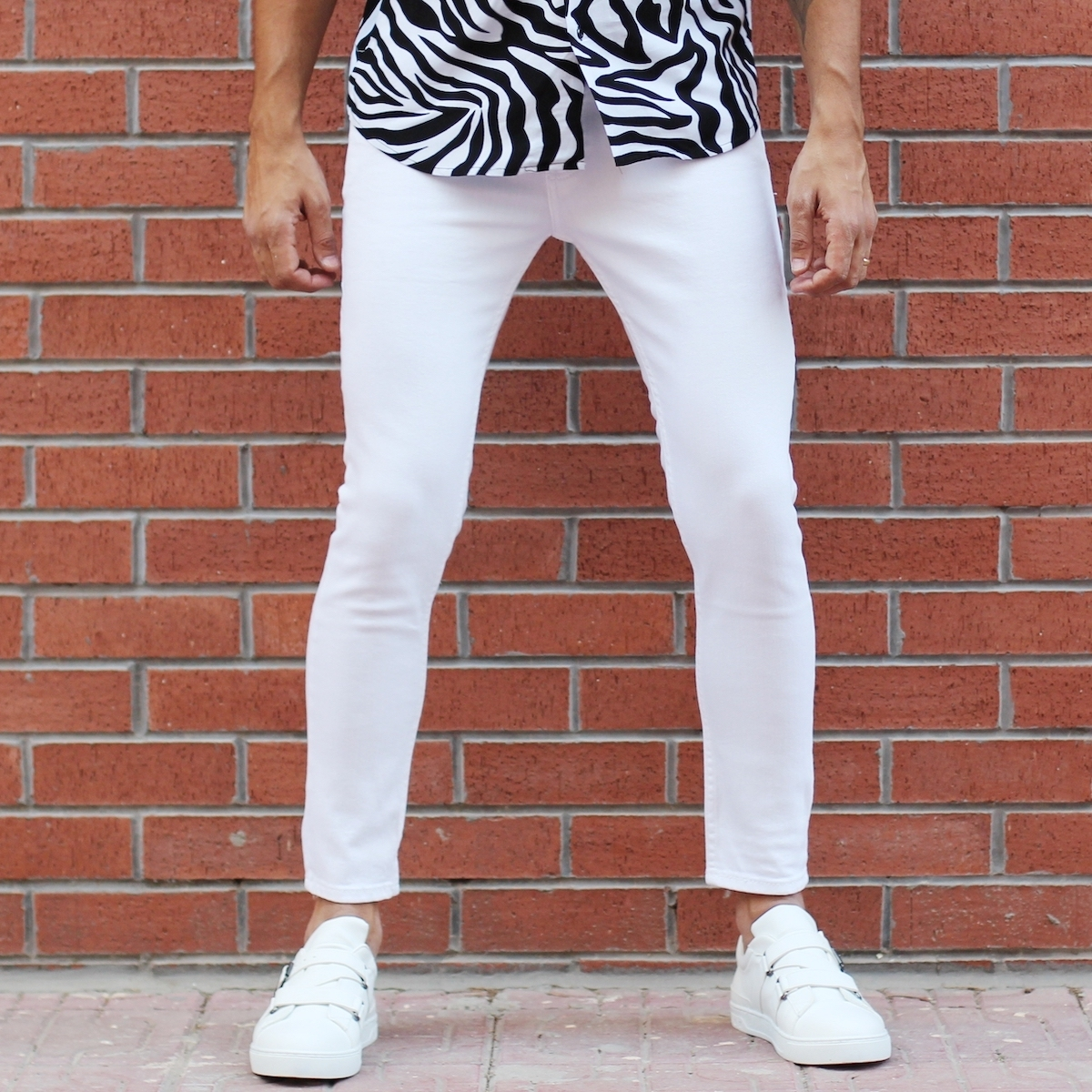 Erkek Düz Beyaz Kot Pantolon