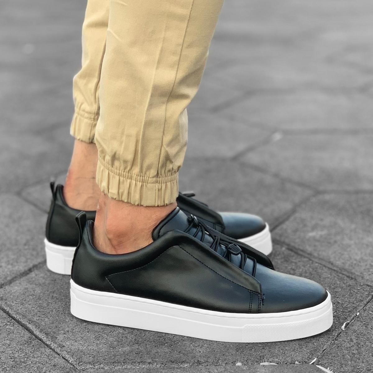 Erkek Comfy Siyah Beyaz Sneaker Ayakkabı
