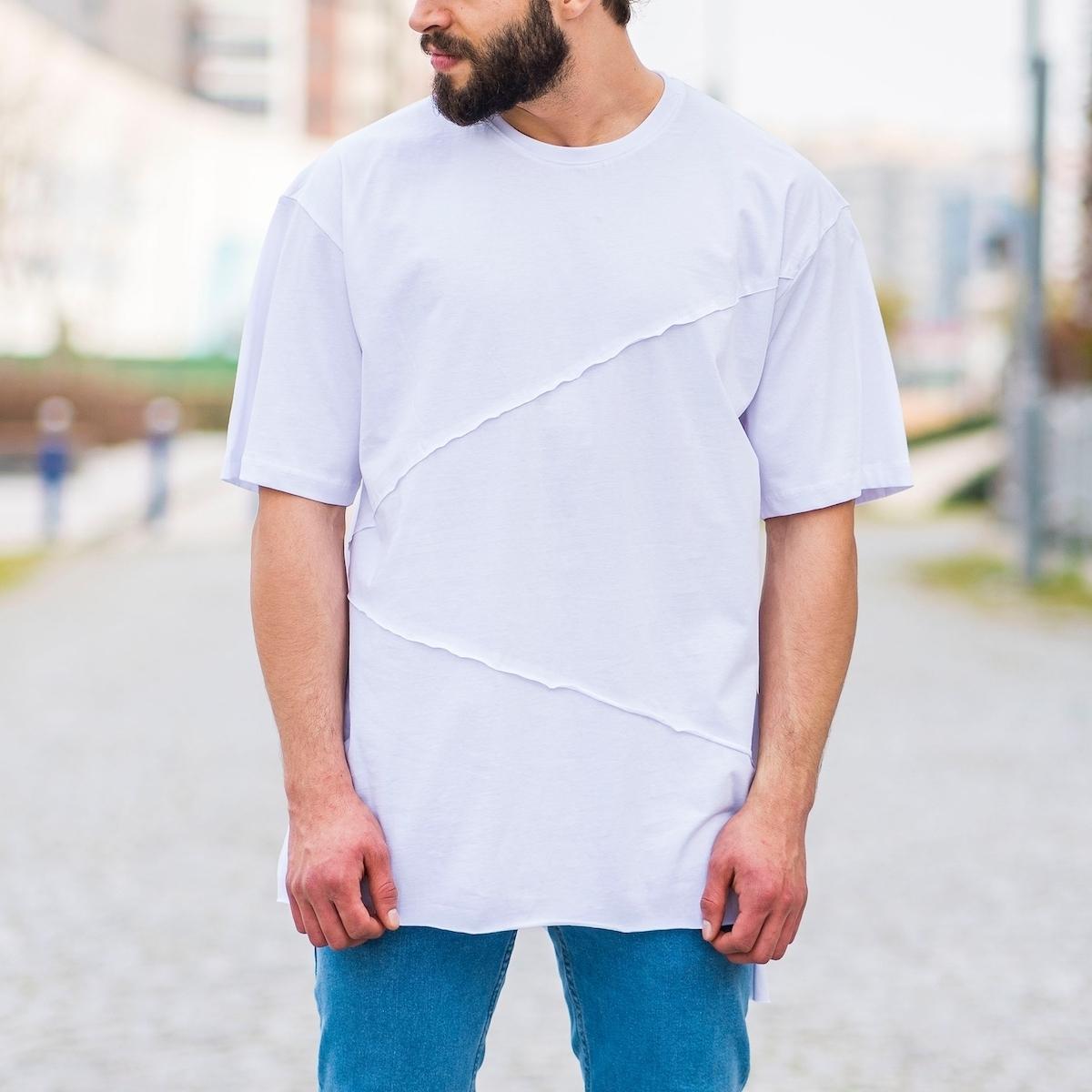 Erkek Uzun Çapraz Kesim Tişört Beyaz