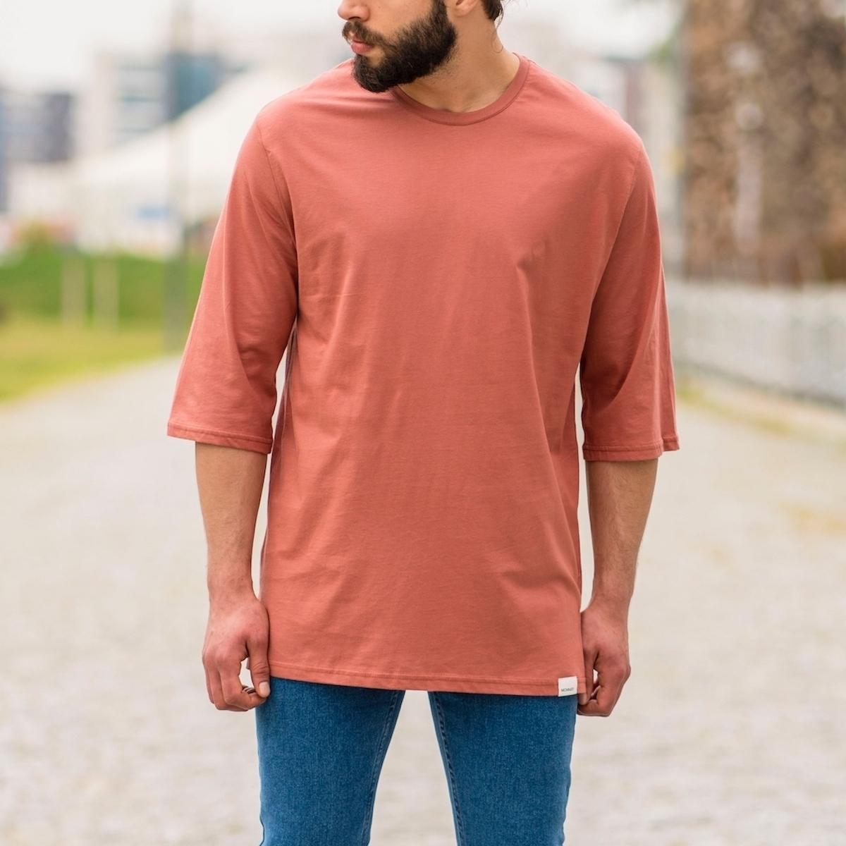 Erkek Uzun Kesim Yırtmaçlı Tişört Somon