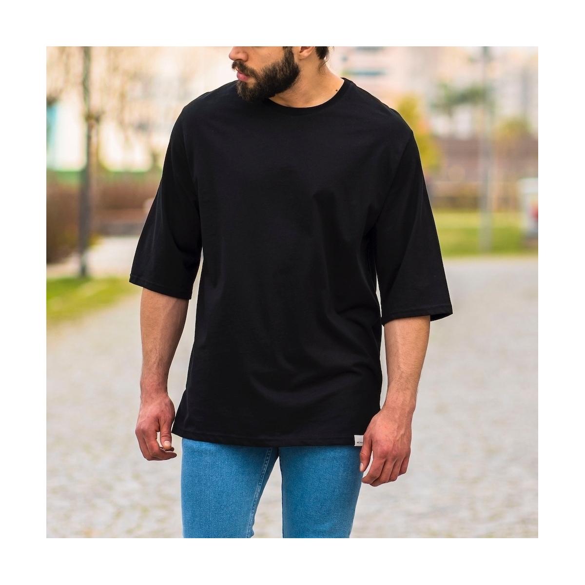 Erkek Uzun Kesim Yırtmaçlı Tişört Siyah