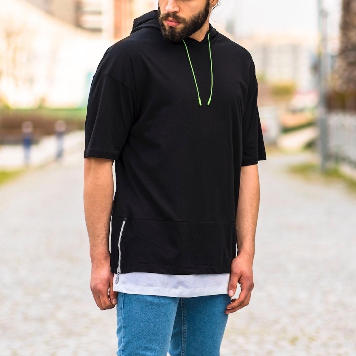 Erkek Yan Fermuarlı Kapüşonlu Tişört Siyah