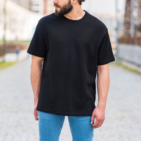 Erkek Kare Petek Dokulu Siyah