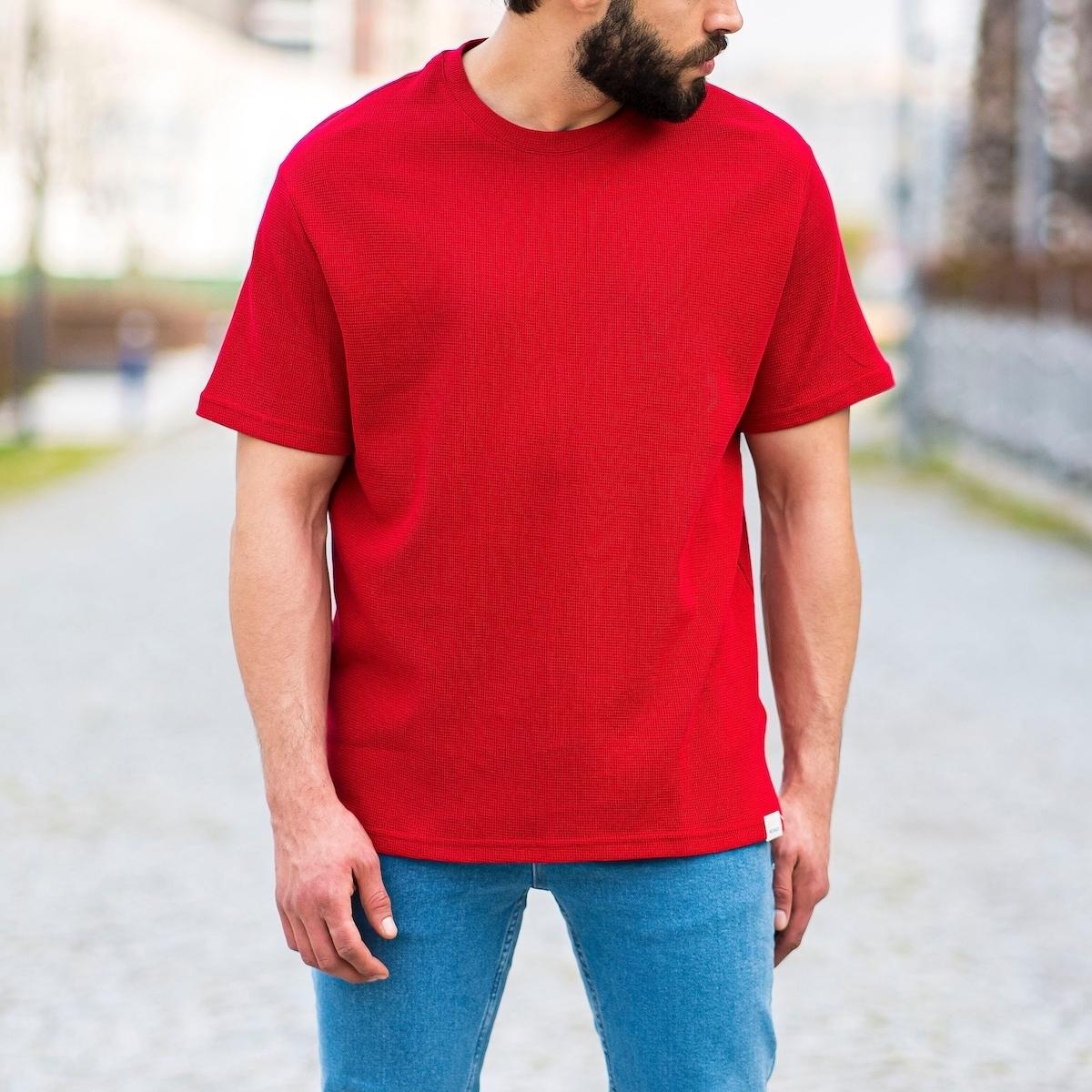 Erkek Kare Petek Dokulu Kırmızı