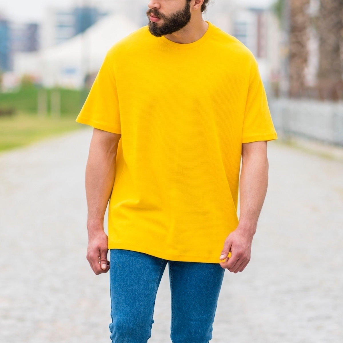 Erkek Kare Petek Dokulu Sarı Tişört