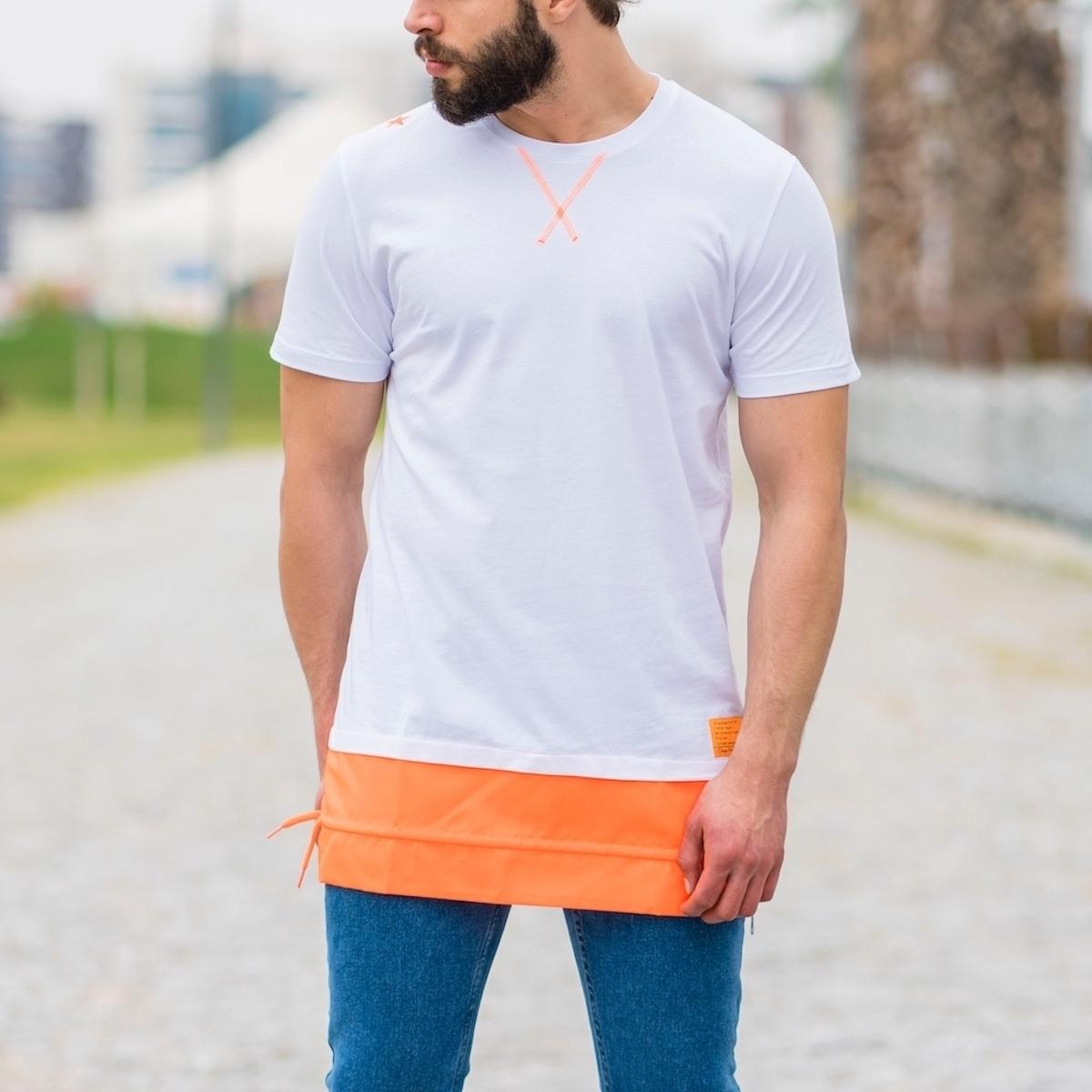 Erkek Uzun Kesim Eteği Turuncu Detaylı Beyaz Tişört