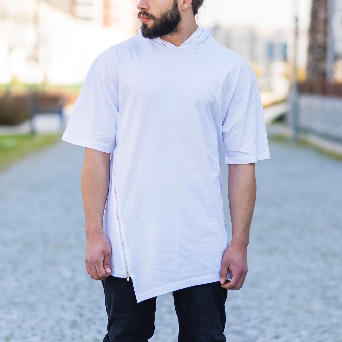 Erkek Kapüşonlu Çapraz Fermuarlı Tişört Beyaz