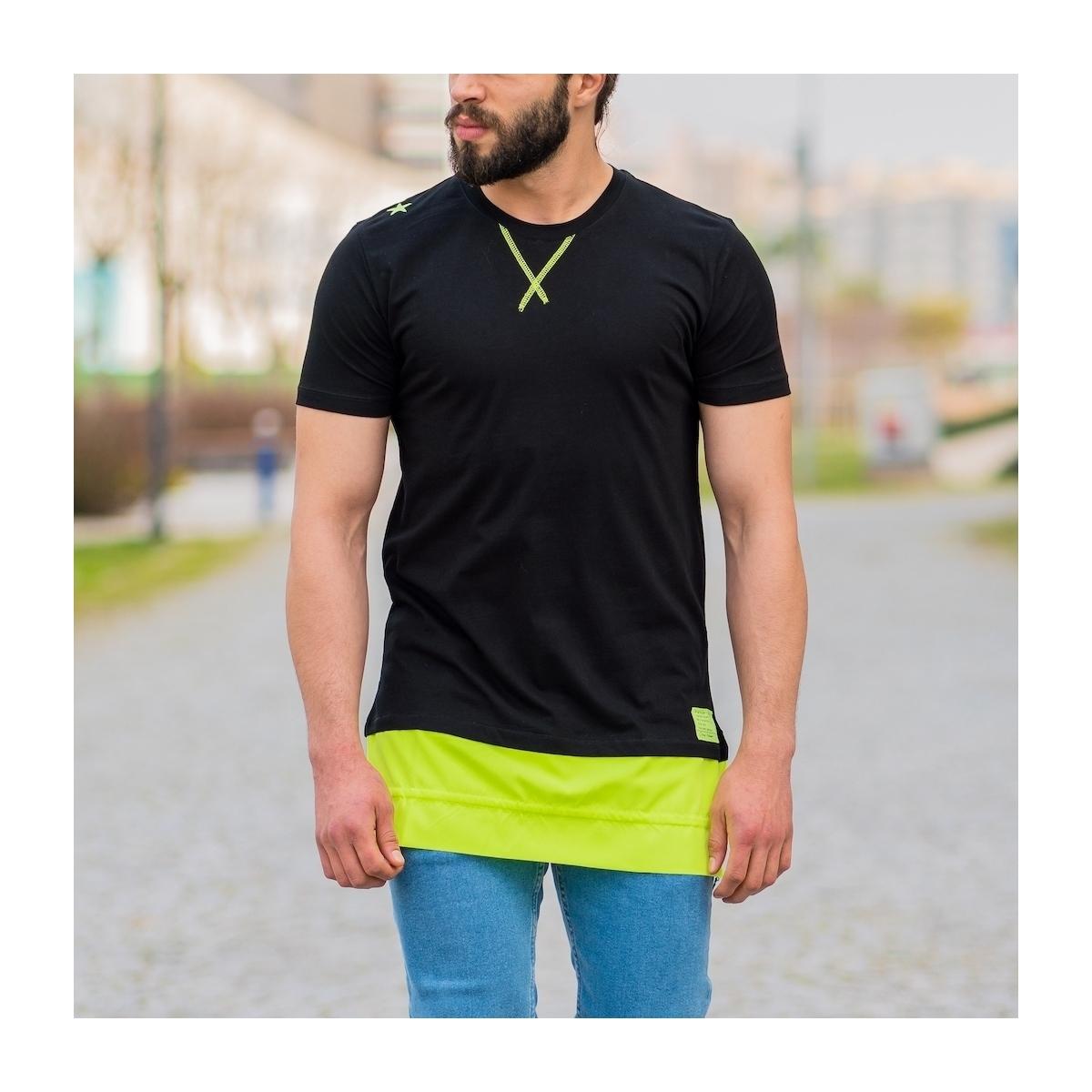 Erkek Uzun Kesim Eteği Yeşil Detaylı Siyah Tişört