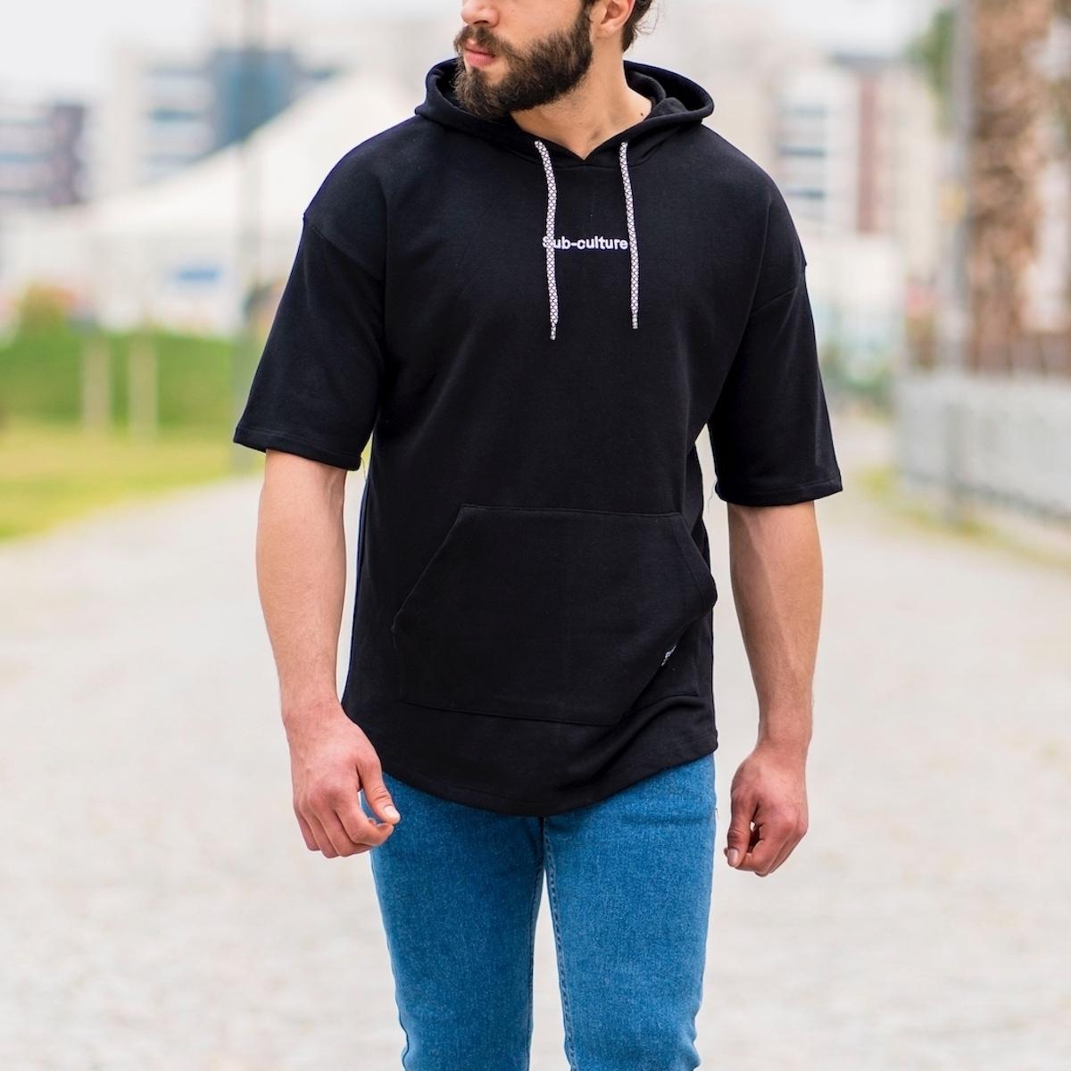 Erkek Ön Cepli Sub-Culture Yazı Detaylı Tişört Siyah