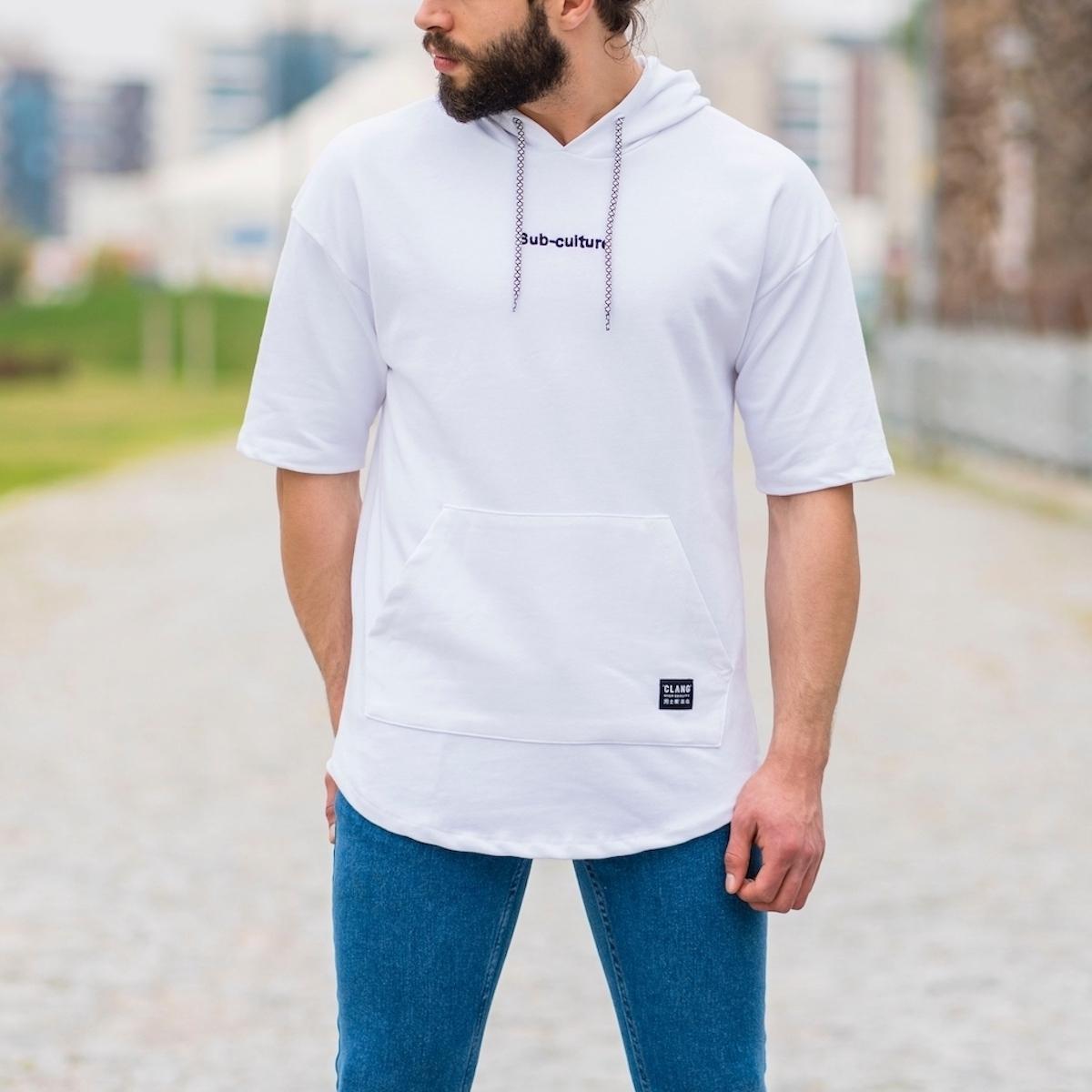 Erkek Ön Cepli Sub-Culture Yazı Detaylı Tişört Beyaz