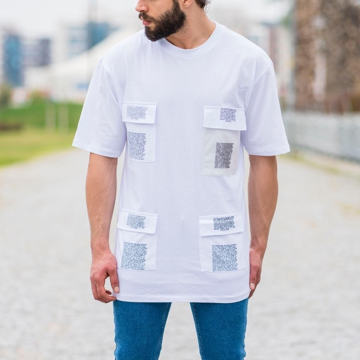 Erkek Uzun Kesim Dört Cepli Tişört Beyaz