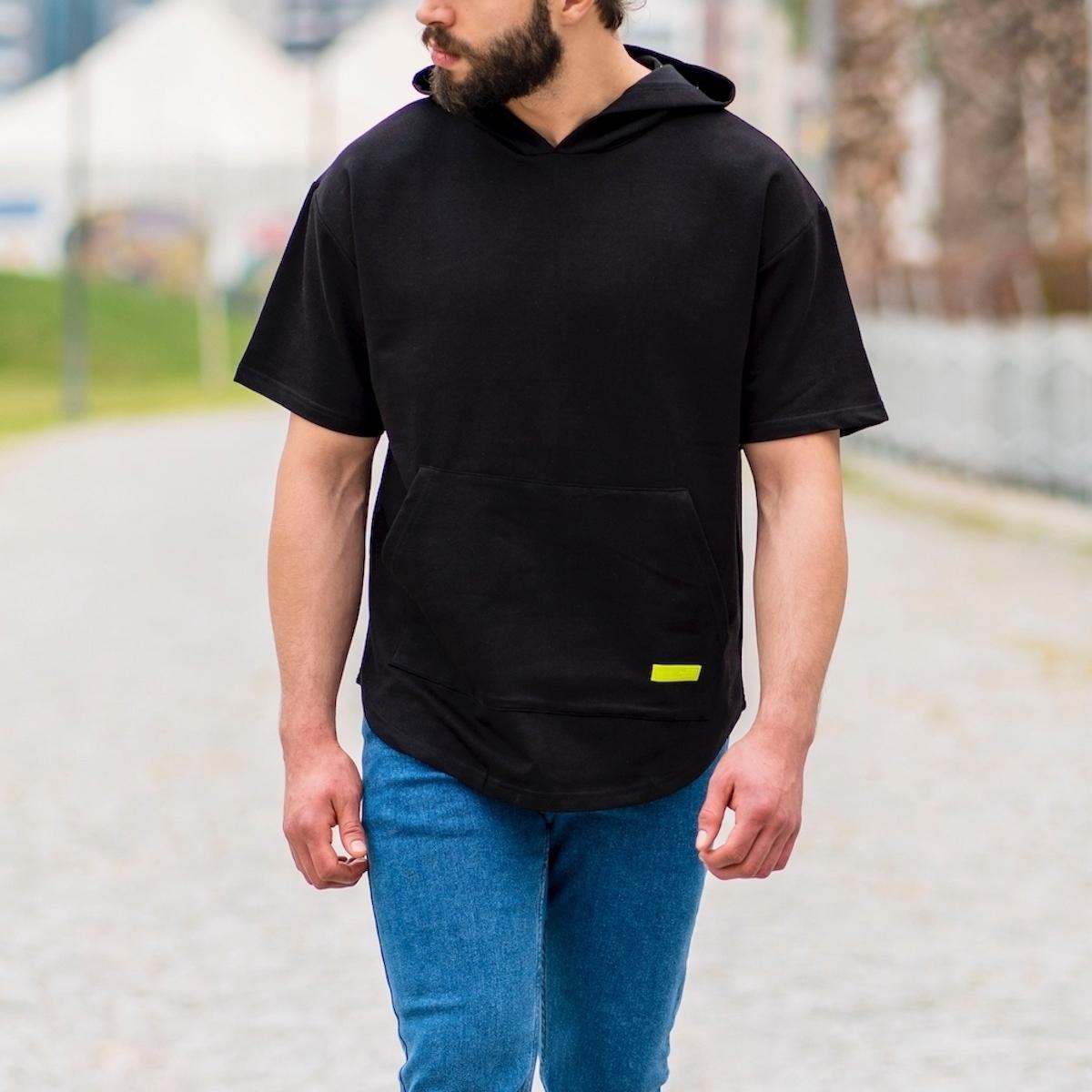 Erkek Ön Cepli Kapüşonlu Tişört Siyah