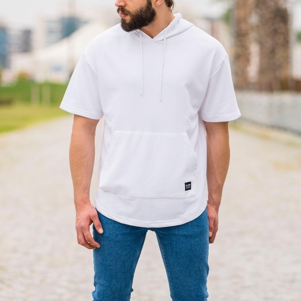 Erkek Ön Cepli Kapüşonlu Tişört Beyaz