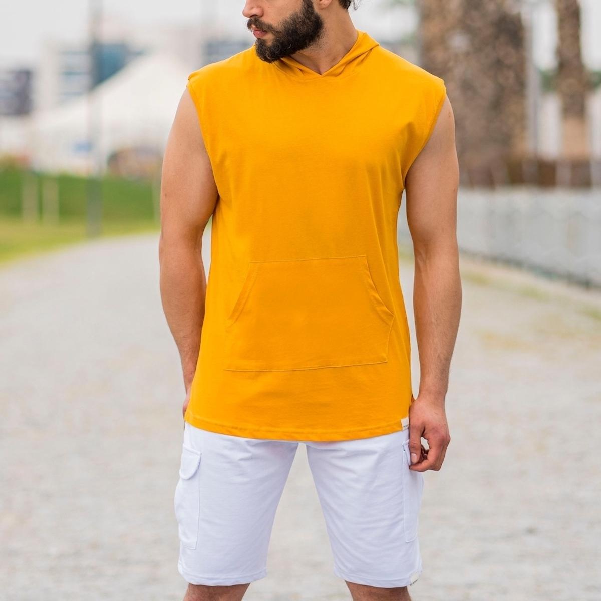 Erkek Ön Cepli Kapüşonlu Kolsuz Sarı Tişört