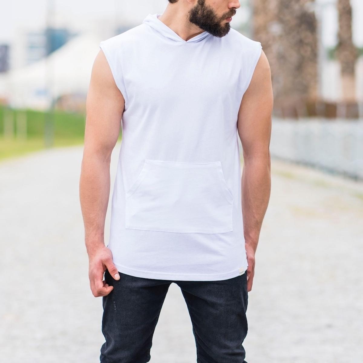 Erkek Ön Cepli Kapüşonlu Kolsuz Beyaz Tişört