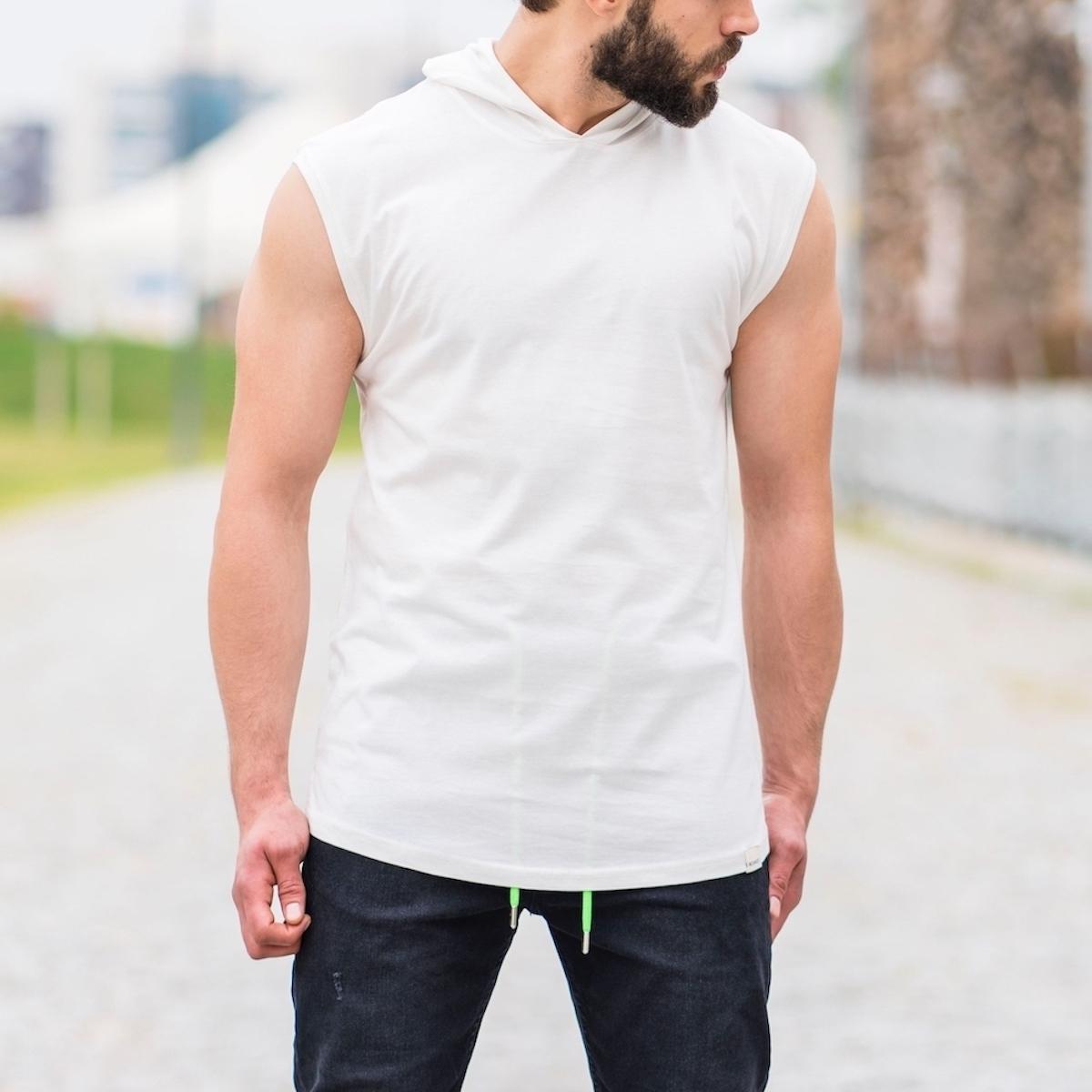 Erkek Uzun Kesim Kapüşonlu Kolsuz Bej Tişört