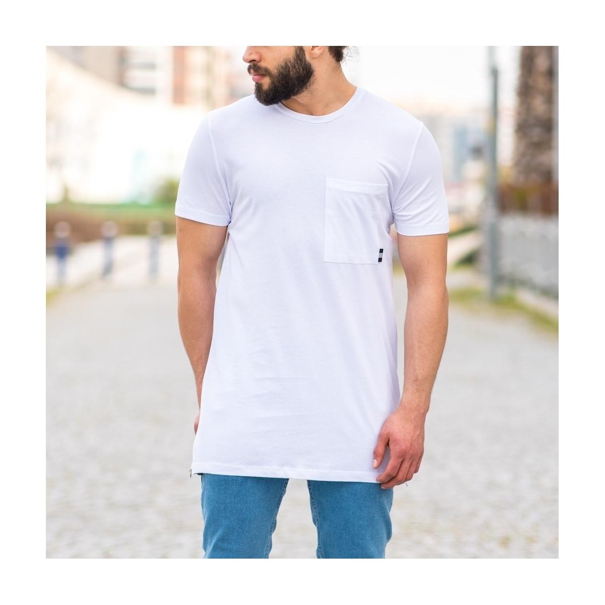 Erkek Uzun Yan Fermuarlı Kamuflaj Yamalı Tişört Beyaz