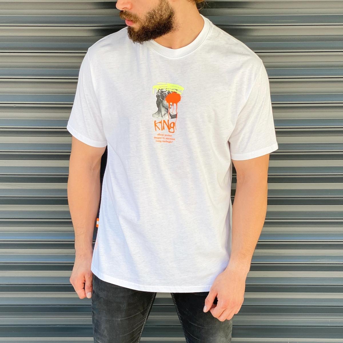 Erkek Tasarım Baskılı Beyaz Tişört