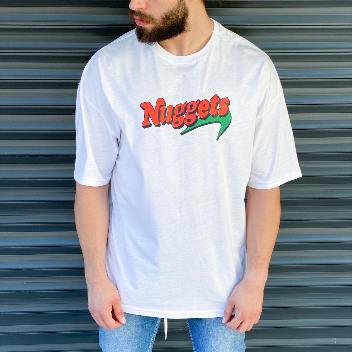 Erkek Nuggets Baskılı Beyaz Tişört