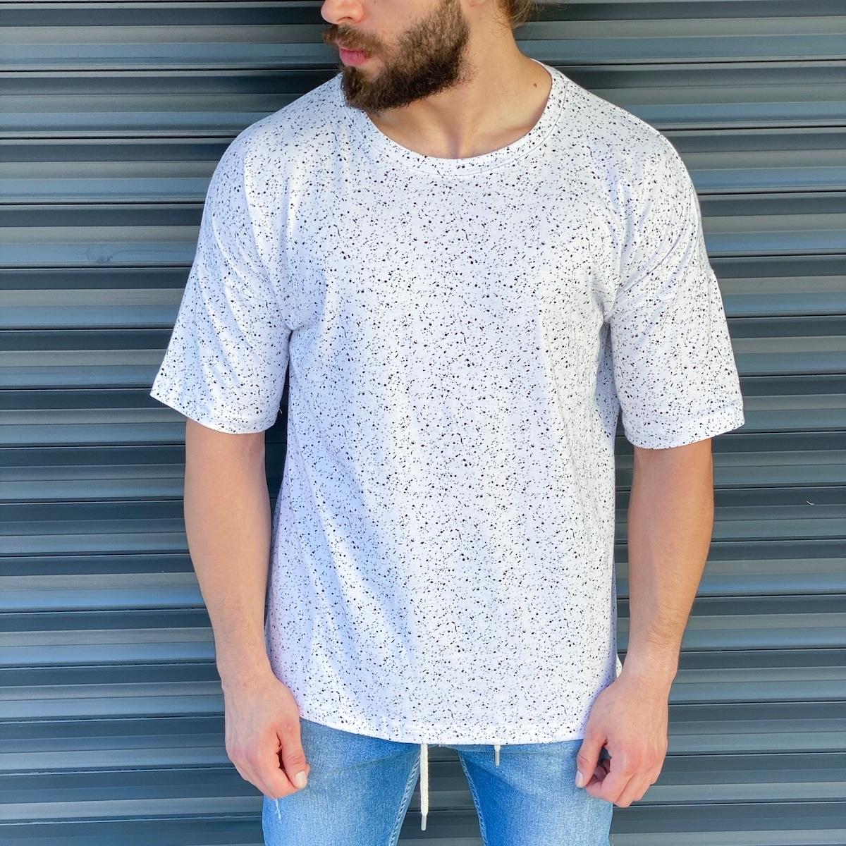 Erkek Boya İşlemeli Beyaz Tişört