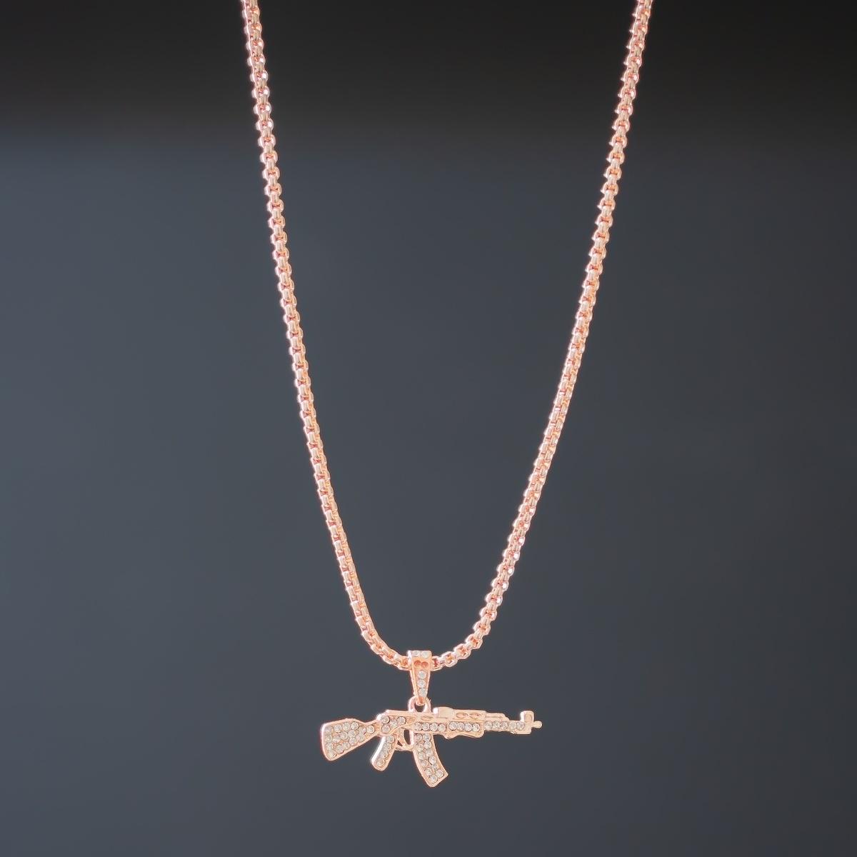 Erkek AK-47 Rose Gold Uzun Kolye