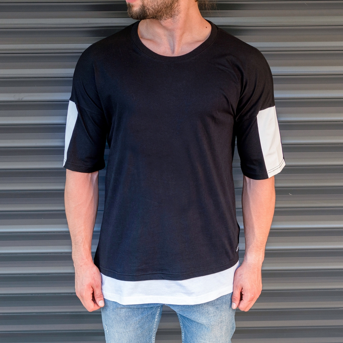 Erkek Kolları Şeritli Siyah Tişört
