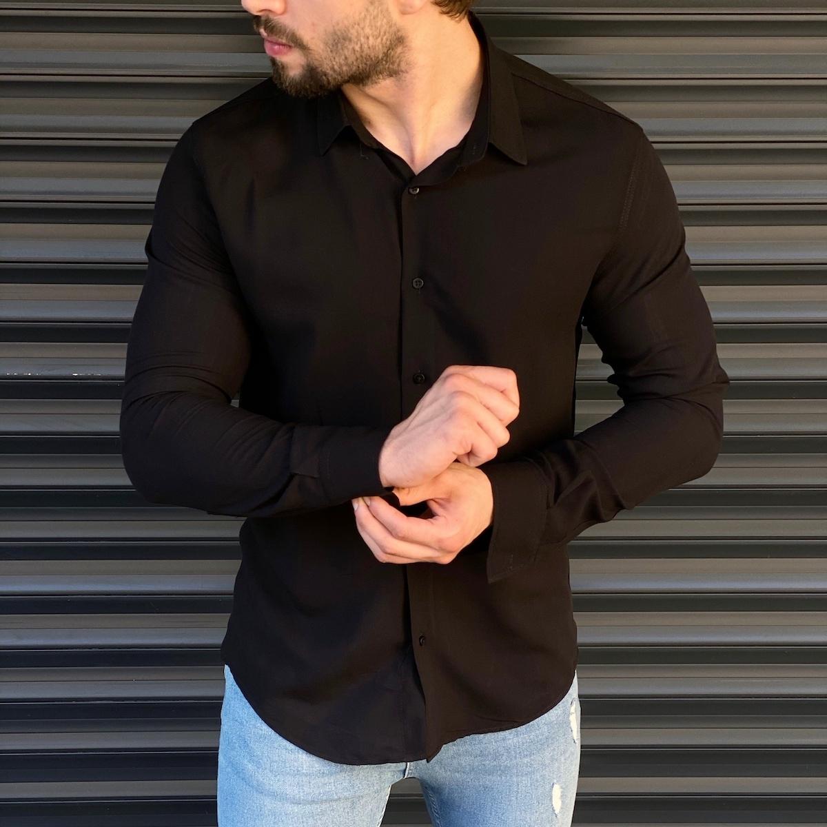 Erkek Basic Siyah Spor Gömlek
