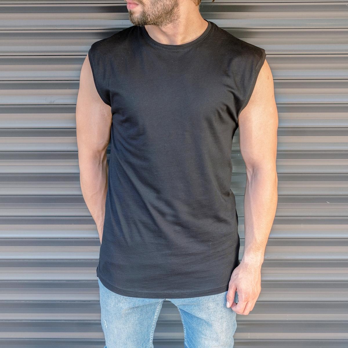 Erkek Basic Regular Kolsuz Siyah Tişört