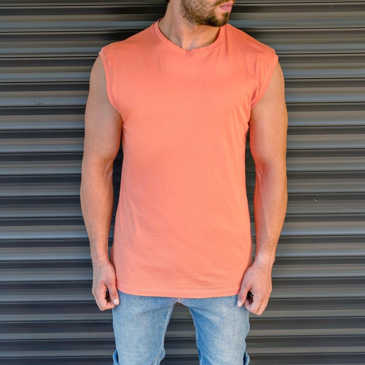 Erkek Basic Regular Kolsuz Somon Tişört