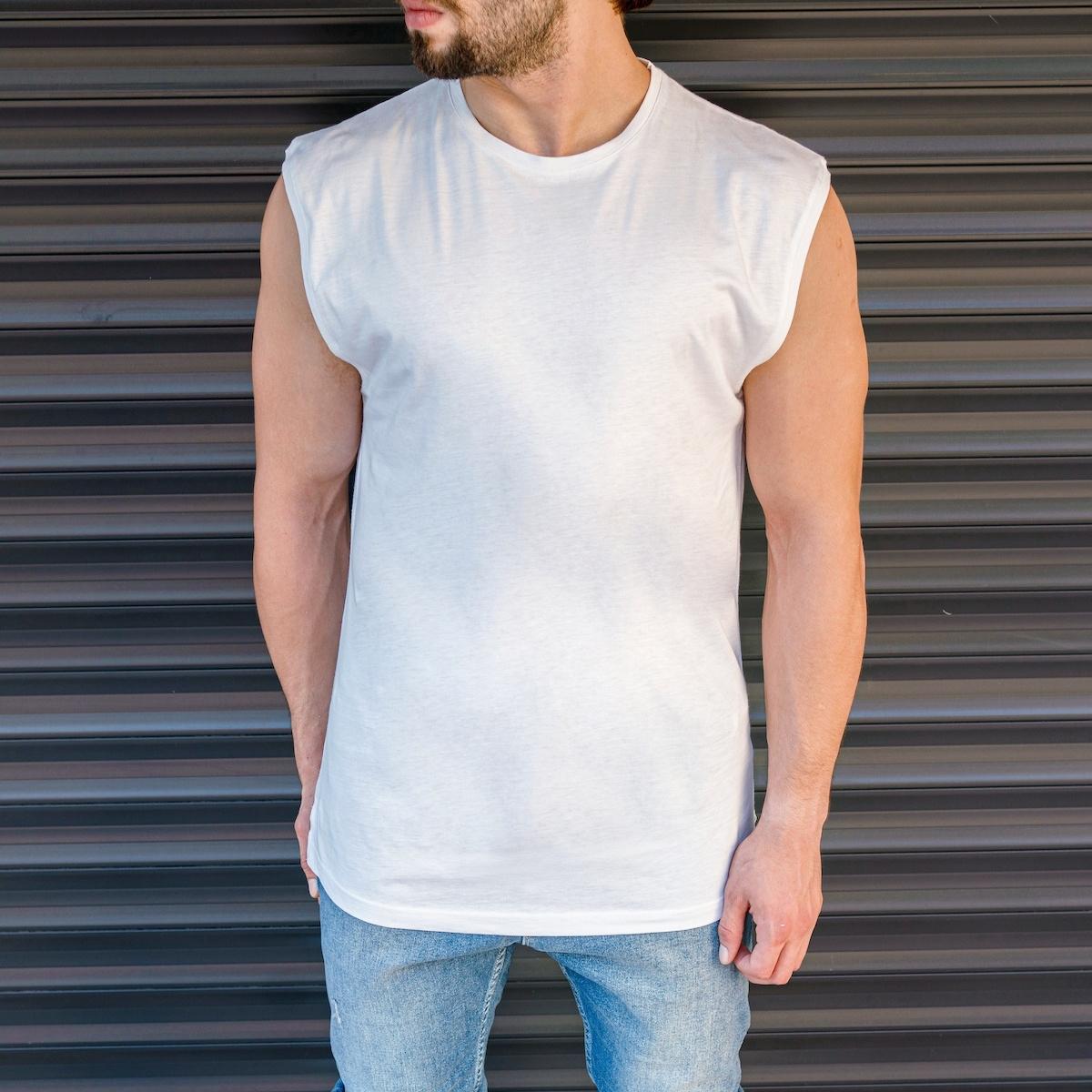Erkek Basic Regular Kolsuz Beyaz Tişört