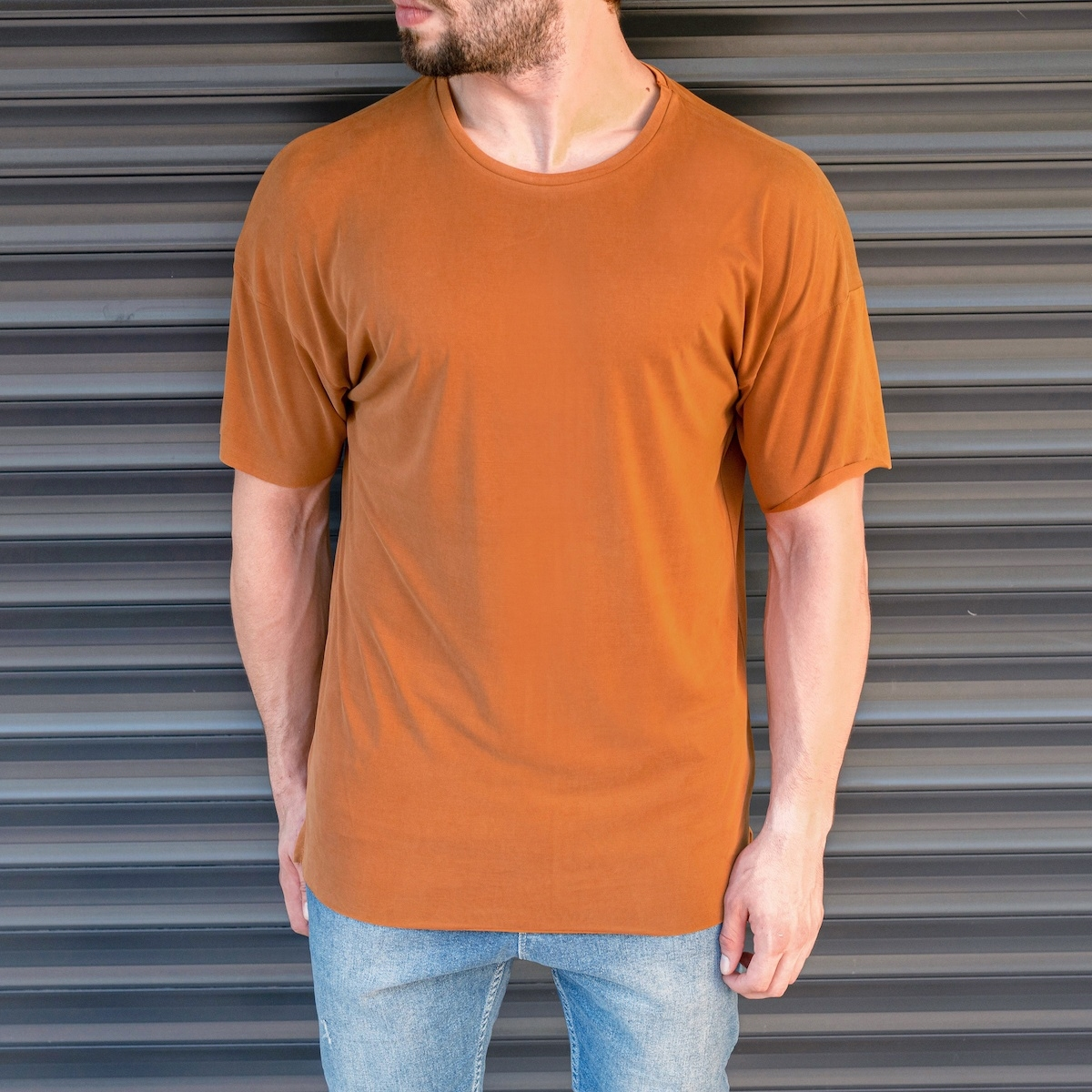 Erkek Basic Oversize Hardal Tişört