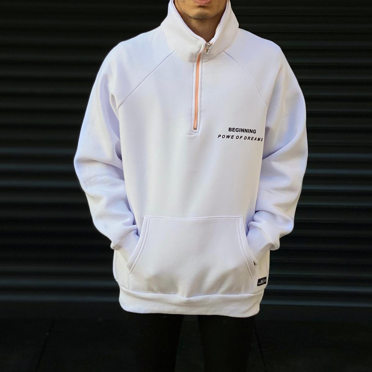 Erkek Ön Fermuarlı Baskı Detaylı SweatShirt