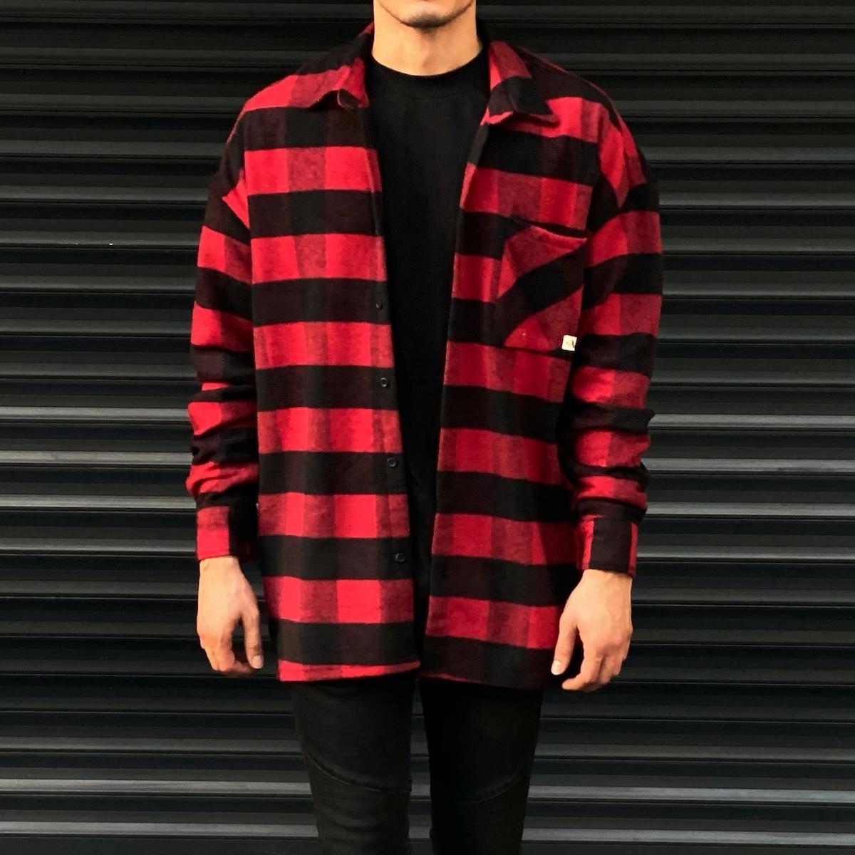Erkek Ekoseli Siyah Kırmızı Kareli Oversize Gömlek