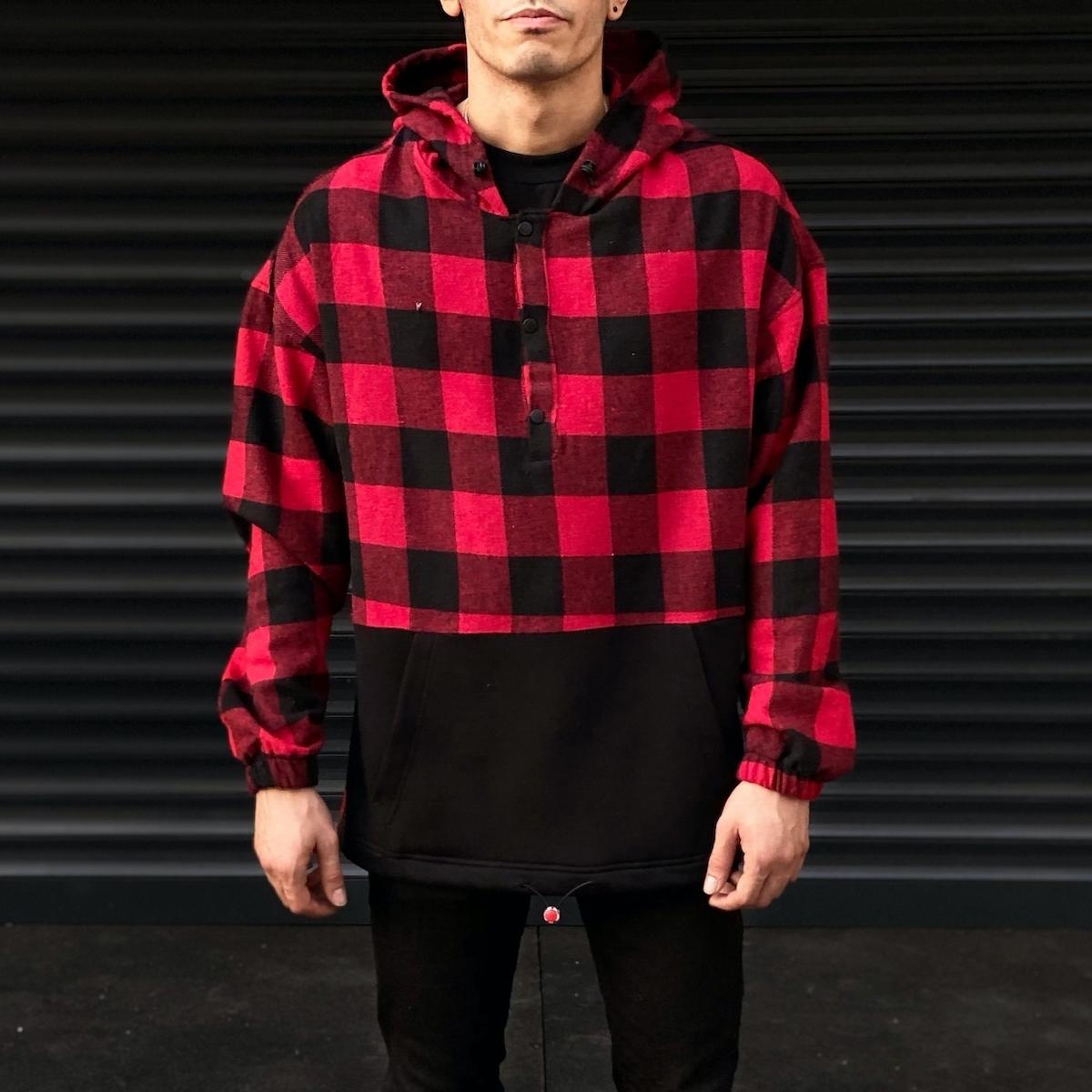 Erkek Kırmızı Siyah Kareli Ön Cepli Oversize Gömlek