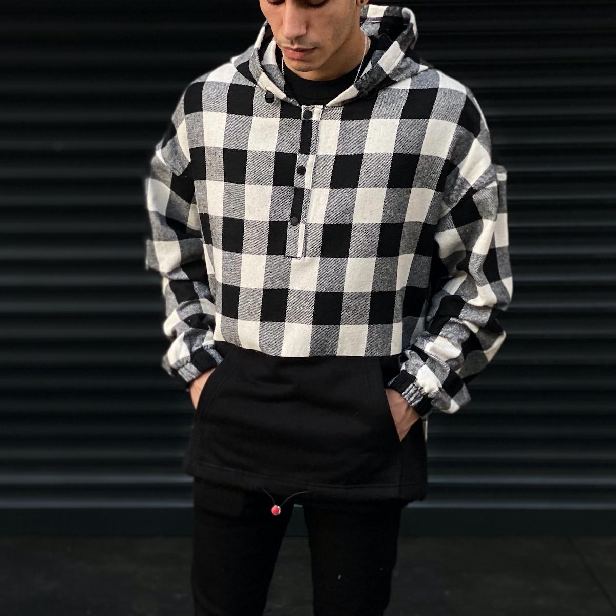 Erkek Siyah Kareli Ön Cepli Oversize Gömlek