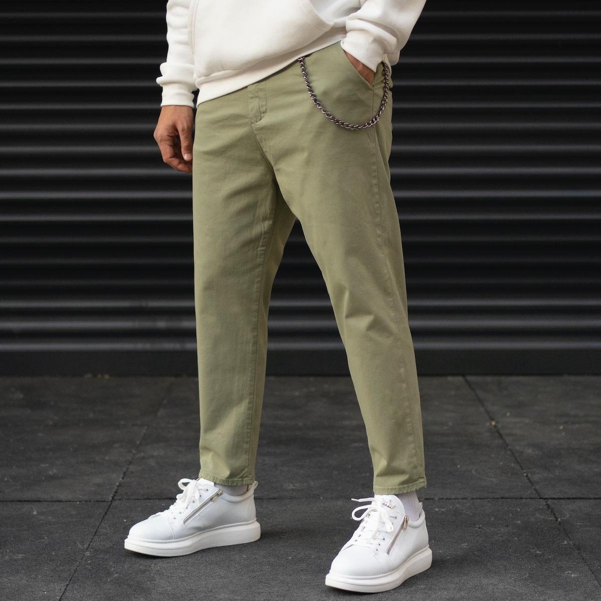 Erkek Oversize Boyfriend Zincir Detaylı Basic Zeytin Yeşili Kot Pantolon